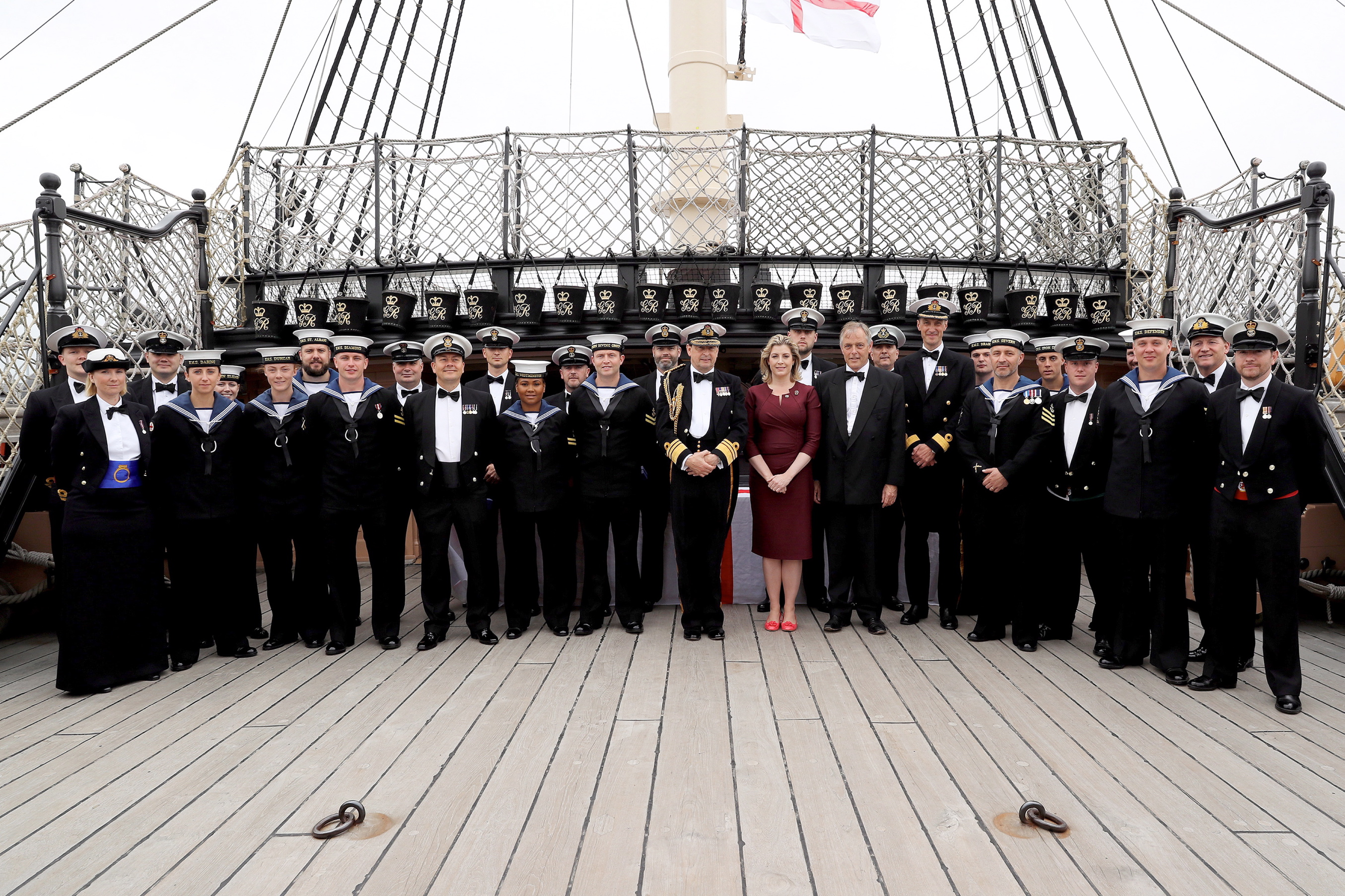 """Star sailors from the Royal Navy's Portsmouth flotilla have been rewarded for outstanding achievements by the Armed Forces Minister.  In her last day in office Penny Mordaunt presented 29 awards to personnel who have gone the extra mile for their ship or unit during the past 12 months. The ceremony on Friday (July 15) was held on board HMS Victory and was followed by a dinner at HMS Nelson.  Two recipients of the award are based on the 65,000-tonne giant aircraft carrier HMS Queen Elizabeth, currently in build at Rosyth. Chief Petty Officer Graeme Duncan was recognised for his efforts in working with industry to ensure that the ship's fresh water system, galley and laundry were ready for the ship's company to move on board.  Medical Assistant Louise Whalley was rewarded for her key role in introducing and managing the ship's first aid and medical training plans and for tailoring effective bespoke training for different departments. Commander Portsmouth Flotilla, Commodore Peter Sparkes said: """"In a challenging year when the Portsmouth Flotilla has scarcely been busier, it is really important that we recognise some of the extraordinary individual efforts of our Sailors, which contribute so powerfully to our collective successes.    Consent Held at FRPU(E)"""