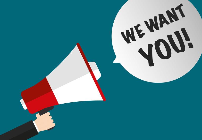 We want you! megaphone & speech bubble