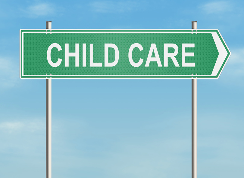 Child care. Road sign on the sky background. Raster illustration.