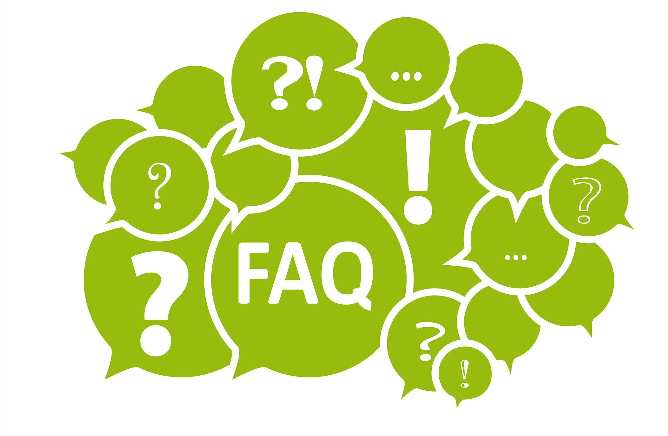 Sprechblasen mit FAQ und Fragezeichen ?
